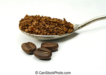 Coffee - The fried grains and granules of an instant coffee...