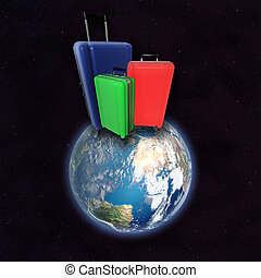 Large luggages on surface of planet Earth. - Large family...