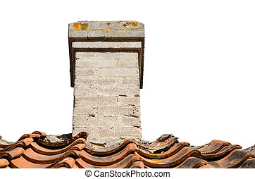 Old chimney on a rooftop