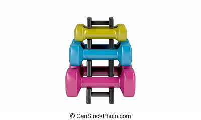 Rack with plastic dumbbells with different sizes and colors...