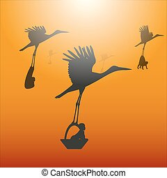 Vector illustration of a stork with a baby