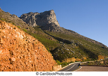 The coast of False Bay South Africa and it\'s mountain pass...