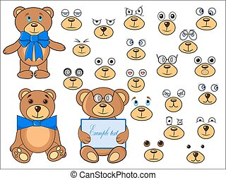 Applique, body parts of a bear in the vector EPS