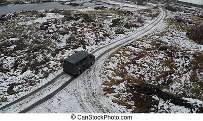 Car On The Country Road - Aerial shot of the car on the...