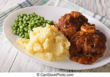 Simple Food: Salisbury steak with mashed potatoes and green...