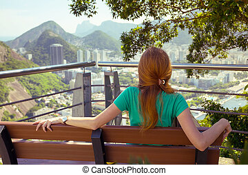 girl at the Rio de Janeiro - girl tourist sitting and...