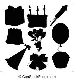 set of silhouettes of objects for celebration