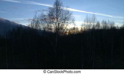 Landscape at dusk aerial shot.