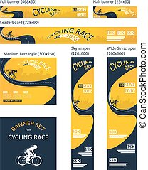 bicycle race event. different size banner set