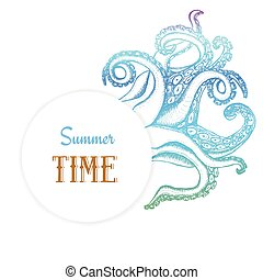 Summer time poster with octopuses tentacles in vintage...