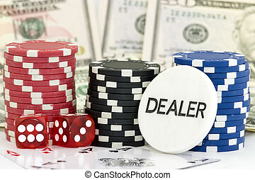 Poker - poker background with dollars,dices and chips
