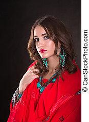 Woman in red sari - Pretty woman wearing in red indian sari