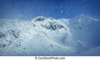 Snow Falling On Mountain Top - Snowfall on misty mountain in...
