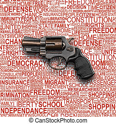 Revolver Gun with background concept of human rights