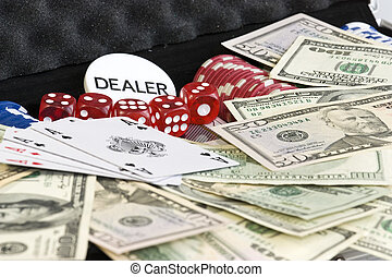 Gambling set - Gambling background with dollars,dices and...