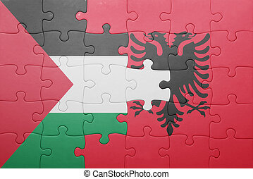 puzzle with the national flag of palestine and albania...
