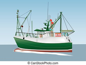 Fishing Boat - A Green and White Fishing Boat sailing on a...