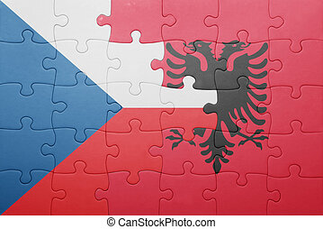 puzzle with the national flag of czech republic and albania