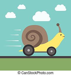 Fast snail with wheels - Fast speedy snail with automobile...