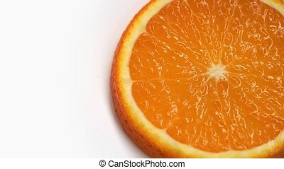 Orange fruit rotation on white background - Slice of orange...