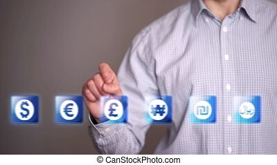 Businessman touch Euro icons - Businessman touch currency...
