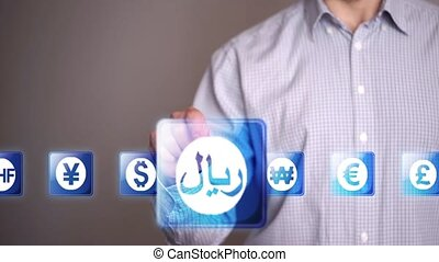 Businessman touch Riyal icons - Businessman touch currency...