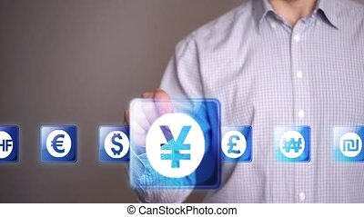 Businessman touch Yen or Yuan icons - Businessman touch...