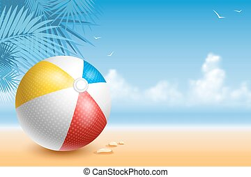 Beach Ball - Colorful Beach Ball On The Seaside At Sunny Day...