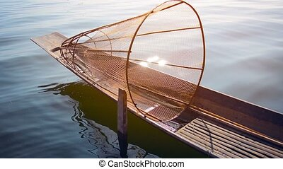 """Traditional, Handmade Fish Trap, Loaded on a Wooden Canoe""..."