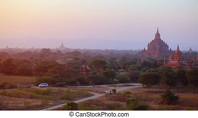 """Panoramic Clip of Bagan Myanmar, an Ancient Burmese City"" -..."