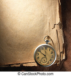 Vintage clock on old paper - Vintage clock on the very old...