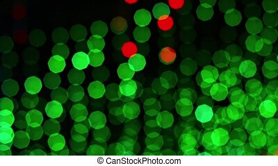 Green and Red Lights in Abstract Bokeh Effect - Dozens of...