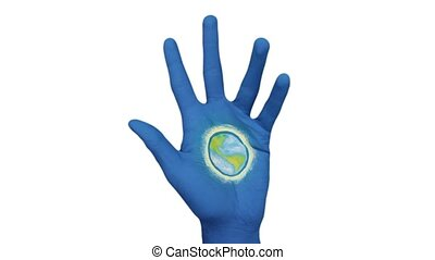 Blue Hand Opens To Reveal Earth - Earth On Painted Hand...