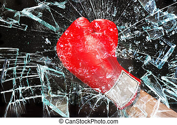 Boxing through glass window - Boxing glove through broken...