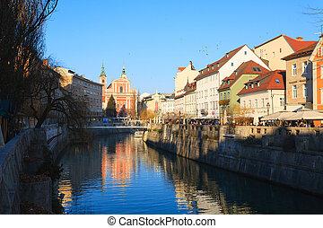 Ljubljana panorama from Ljubljanica river