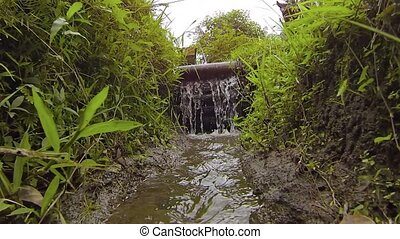 Water of an Irrigation Canal Flows Over a Wooden Dam - Water...