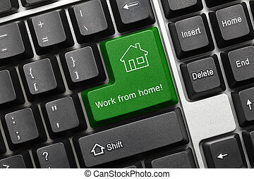 Conceptual keyboard - Work from home (green key) - White...