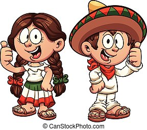 Mexican kids - Cartoon kids in traditional Mexican clothing....