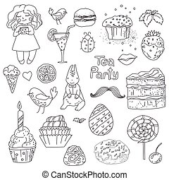 tea party, hand drawn elements for design