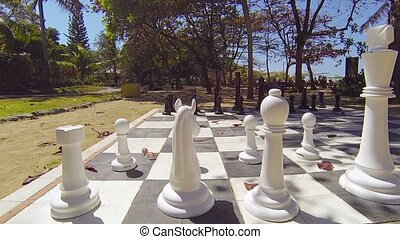Life Size Chess Set on a Tropical Beach - Black and white...
