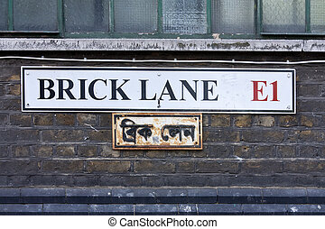 brick lane sign - street sign for brick lane in london