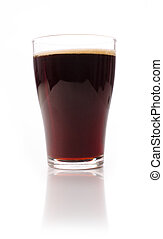 Glass of malt beer on a white studio background