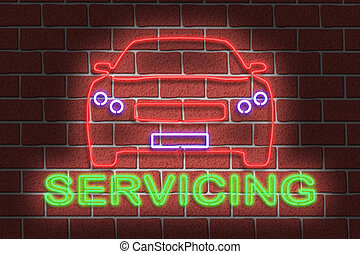 Neon SERVICING sign