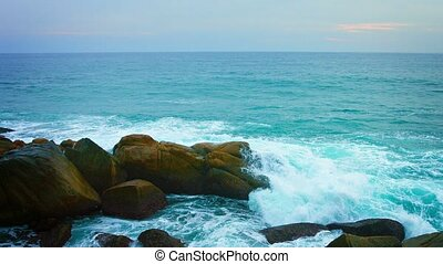 """Tropical Waves Crash over Boulders, with Sound"" - ""Waves..."