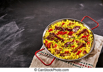 Gourmet traditional Brazilian Al Homo paella with grilled...