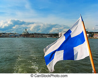 Panorama of Helsinki with Finnish flag