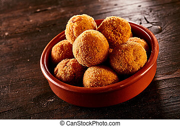 Spanish bacalao croquettes with salted codfish - Spanish...
