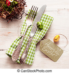 Cute fork and knife with Happy Easter tag - Cute arrangement...