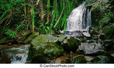 quot;Abstract, Slow Motion Shot of a Tropical Waterfall,...