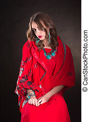 Woman in red sari - Pretty woman wearing in red indian sari